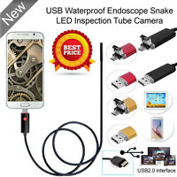 7mm 6 LED USB Endoscope Borescope Waterproof Inspection HD Tube Video Camera 10M