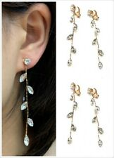High Quality Zircon Crystal Leaf Drop Long Dangle Clip On Party Earrings Gift