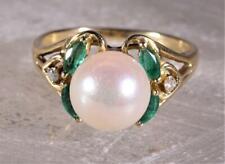 Pearl, Emerald & Diamond Ring 14K Yellow Gold Size 6