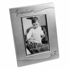 Silver Plated Satin Finish Photo Frame with Hearts - Grandson