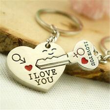 Valentine Day Gift Heart Key I LOVE YOU Keyring Set Couple Keychain Ring 1 Pair