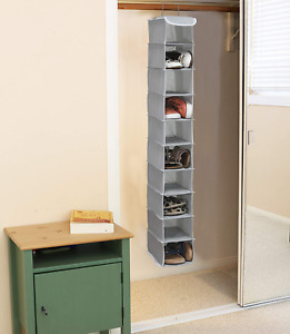 Hanging Storage Shelves Shoe Shelf Space Saver Closet Organizer Hanger Rack Gray