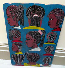 African Art Ethnographic Handpainted Coiffured Wood Hair Sign Women Braid Ads