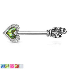Opal Glitter Heart Arrow CZ Paved Nipple Bar With Feather End And 316L Barbell