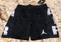 NIKE AIR JORDAN Jumpman Baller Mesh Black Silver Basketball Shorts Boys S XL XXL