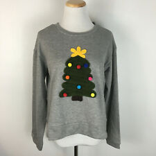 Compania Fantastic NWT Modcloth Women's Gray Christmas Tree Sweater Size Medium