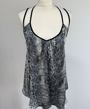 River Island Sz 10 Snake Print Grey Floaty Cage Back Strappy Cami Top