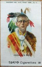 Tokio Cigarettes 1890 Tobacco Silk w/Native American: 'Keokuk's Son'