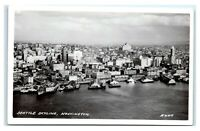 Postcard Aerial View of Seattle, WA harbor Penney's RPPC A50