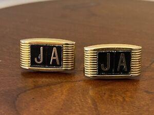 "Anson Cuff Links  Tie Clip Gold Tone ""JA"" monogram"