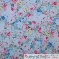 BonEful FABRIC FQ Cotton Quilt VTG Green Leaf White Blue Pink Yellow Rose Flower