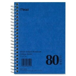 """Mead Mid Tier Single Subject Notebook - 80 Sheet - College Ruled - 5"""" X 7"""" - 1"""