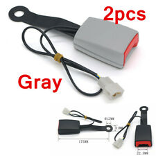"""2pcs Gray 7/8"""" Car Safety Seat Belt Buckle Socket Plug Connector w/Warning Cable"""