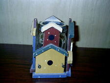 Wooden Church House Birdhouse Candle Jar Hugger Wood & Wire Hand Painted