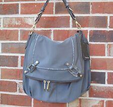 Treesje new Nylon Flap Hobo Large Shoulder Bag Meridian Gray NY 6020 NWT $328