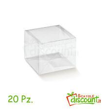 20 SCATOLE TRASPARENTI PVC BOMBONIERA SCATOLINA NOZZE BATTESIMO cm 10x10x10