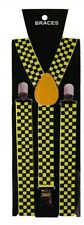 Unisex Fancy Dress Novelty Fashion Braces Neon Yellow & Black Check Pattern