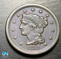 1857 Braided Hair Large Cent --  MAKE US AN OFFER!  #B9227