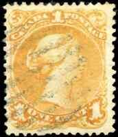 Canada #23 used F-VF 1869 Queen Victoria 1c yellow orange Large Queen CV$175.00