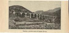 Stampa antica CUNEO Viadotto Ferroviario sul torrente Rivoira 1893 Antique print