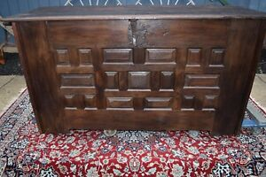 RARE EARLY SPANISH COLONIAL HUGE CARVED OAK OLD CASTLE TREASURE CHEST - 1600's