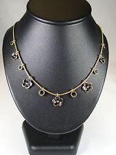 PILGRIM Halskette Kette Halsreifen,Modeschmuck, Blüte, Herz, Schwarz, Stein,Gold