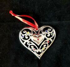 Lenox Heart Ornament Sparkle and Scroll Multi Color Rhinestones Silver Plated