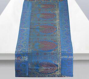 "Vintage Indien Silk Brocade Peacock Table Runner Decorative Table Cloth 60X16"""
