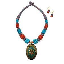 Fashion Jewelry Tibetan Solid Brass Bib Collar Turquoise Coral Necklace