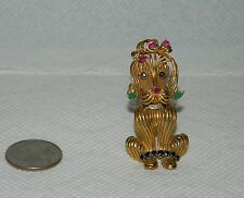 VTG ROBERT ALTMAN PIN 14 KT Y GOLD DIAMONDS SAPPHIRE EMERALD RUBY POODLE PIN