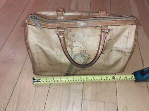 Authentic Alviero Martini Classe world map brown Boston bag
