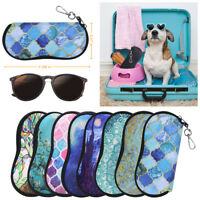 Portable Eyeglasses Case with Carabiner Hook Sunglasses Sleeve Soft Travel Bag