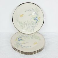 Lenox Cinderella Lot Butterfly Flowers 4 Dinner Plates Platinum Trim