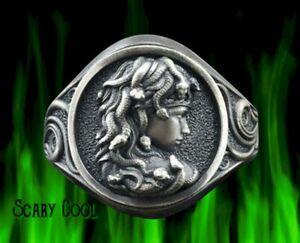 New Medusa Greek Mythology Snakes Mens Silver Mens Ring