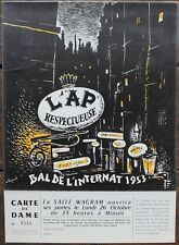 BAL DE L'INTERNAT 1953 Carton d'invitation Femme illustré par FOURNEL + Coupon
