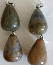 4 X AGATE TEARDROP PENDANTS with bails  - Jewellery making, Crafts,  gifts - # M