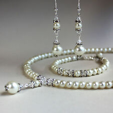Cream ivory pearl crystal collar necklace bracelet earring wedding jewellery set