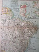 ORIGINAL 1897 South America Eastern Part Century Atlas No 71 11.5 x16 Brazil Rio