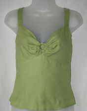 KALIKO (UK10 / EU38) GREEN 100% LINEN AND FULLY-LINED TOP WITH HOOPED BUSTLINE