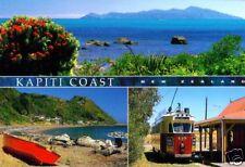 Postcard: 3 Ansichten Kapiti Coast, New Zealand - Straßenbahn, Meer und Küste