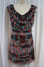 "Nine West Petite Dress Sz 6P Black Combo ""Sweet Escape"" Tiered Business dress"