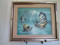 Original signed STEPHEN Asian Chinese Junk Boats Art Ship Sail Sea Oil Painting