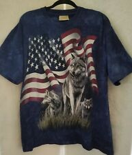 The Mountain mens graphic flag & wolves tee shirt  size X L color navy  tie dye