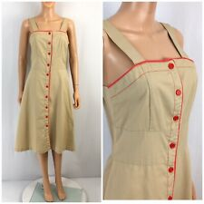 Vintage 70s 80s Dress Sundress Button Front Fit Flare Jumper Shirt Dress XS