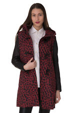 RRP €610 DIESEL Size S L-LEO Wool Blend Contrast 100% Leather Sleeve Duffle Coat
