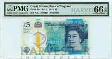 2015 GREAT BRITAIN £5 POLYMER BANKNOTE - CERTIFIED PMG 66 EPQ - GEM UNC AK17-29