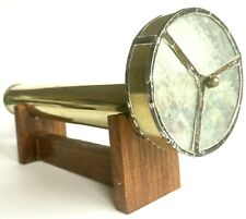 """Vintage 11"""" Brass Kaleidoscope With Single Spinning Wheel & Wood Display Stand"""