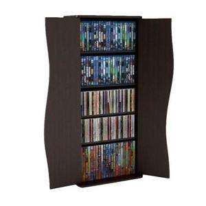 "Media Storage Shelf Cabinet DVD CD Organizer Tower Rack Disc Holder Stand 35"""