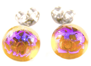 "DICHROIC GLASS Post EARRINGS Clear Amber Magenta Pink Patterned STUDS - 1/4"" 8mm"