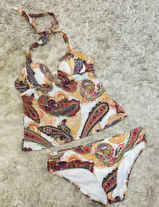 Victorias Secret Tankini Swimsuit Padded Halter Multicolor Paisley Medium
